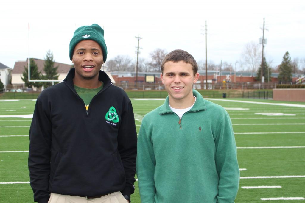 Seton House's Kyis Morgan and Ryan Payne were victorious in the annual House Pass-Kick Contest. --photo by Daniel Owens